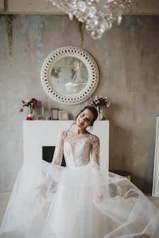 Young attractive bride . portrait of beautiful bride. wedding dress.