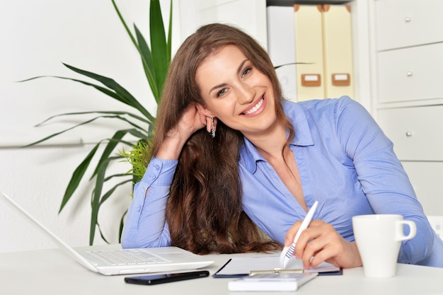 Young attractive  businesswoman with laptop working  at office