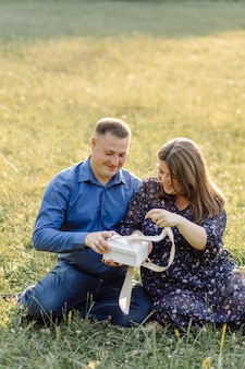 Young attractive couple pregnant mother and happy father