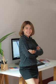 Young attractive female graphic designer