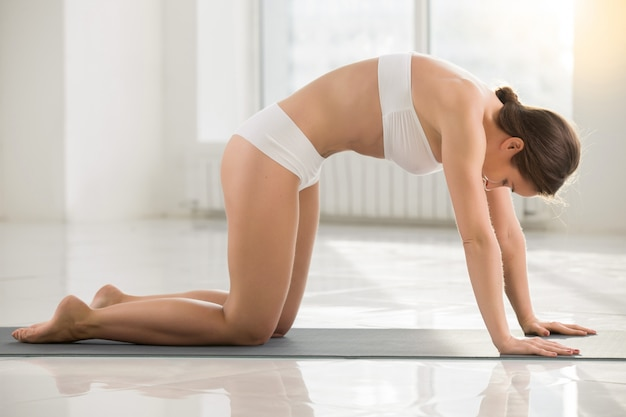 Young attractive woman standing in marjaryasana pose, white colo