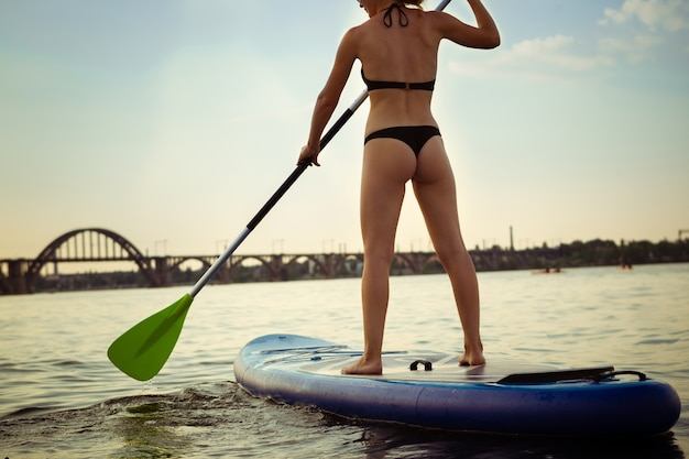 パドルボード、supに立っている若い魅力的な女性。アクティブな生活、スポーツ、レジャー活動の概念。夏の夜の時間に旅行ボード上の白人女性。休暇、リゾート、楽しみ。トリミング。