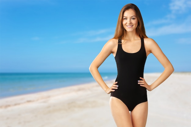 Young attractive woman in swimsuit