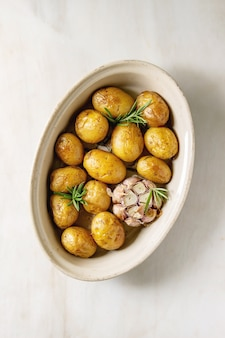 Young baked potatoes
