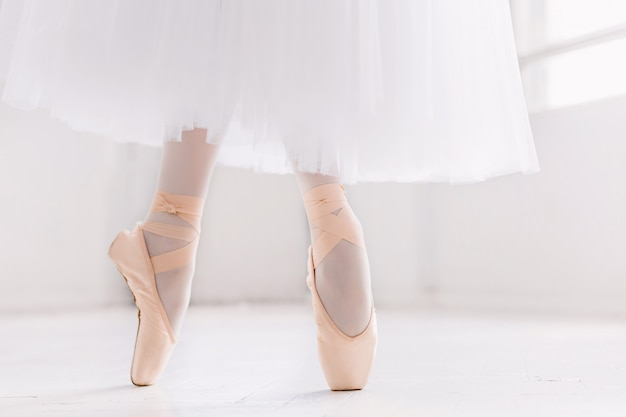Young ballerina, closeup on legs and shoes, standing in pointe position.