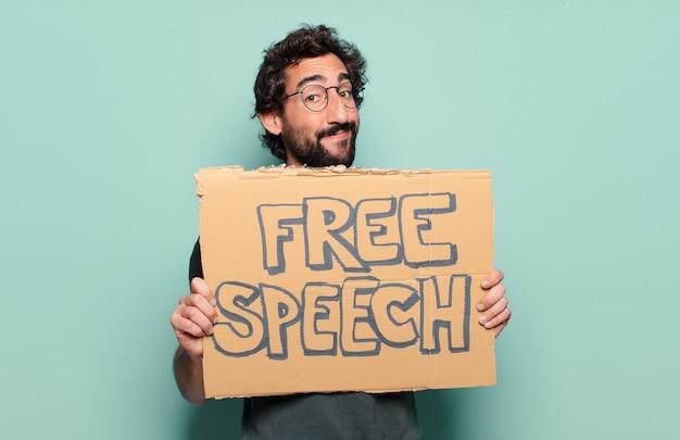 若いひげを生やした男。言論の自由の概念