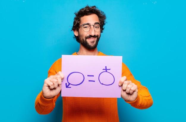 若いひげを生やした男の性別の自由の概念