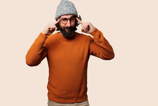 Молодой бородатый человек, имеющий идею