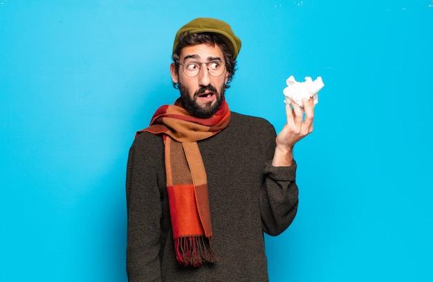 젊은 수염 남자 질병 개념. 감기와 독감 통증