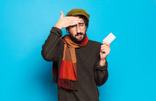 Концепция болезни молодой бородатый человек. простуда и боль от гриппа