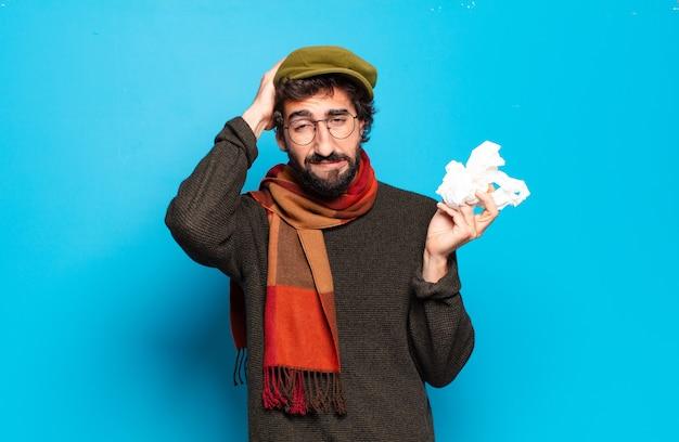 젊은 수염된 남자 질병 개념입니다. 감기와 독감 통증