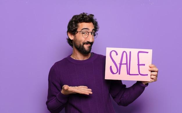 젊은 수염된 남자 판매 개념