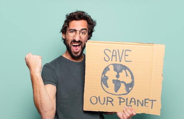 私たちの惑星ボードを保存して若いひげを生やした男