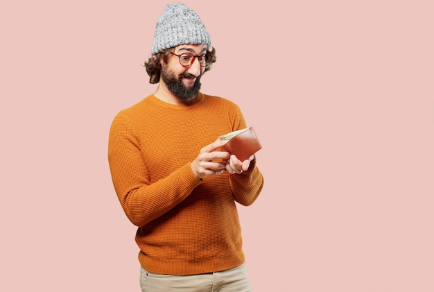 Young bearded man with a wallet
