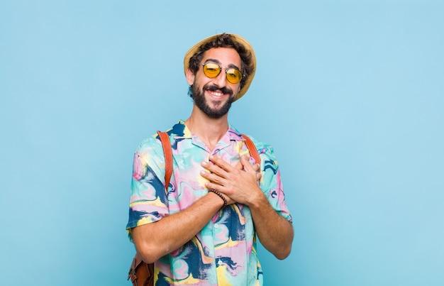Young bearded tourist man feeling romantic