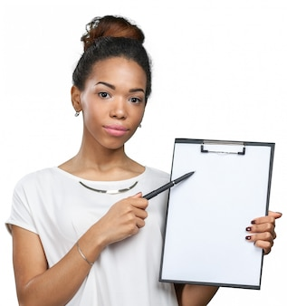 Young beautiful african american woman with clipboard
