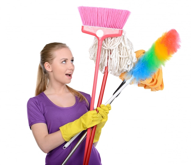 Young beautiful blonde cleaning