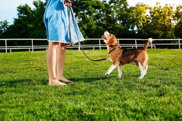 Giovane bella ragazza bionda che cammina, giocando con il cane da lepre nel parco.