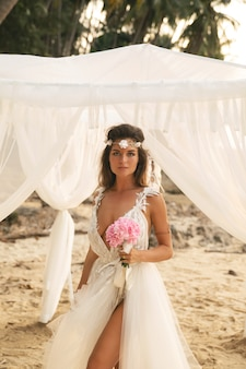 Young and beautiful bride celebrating wedding