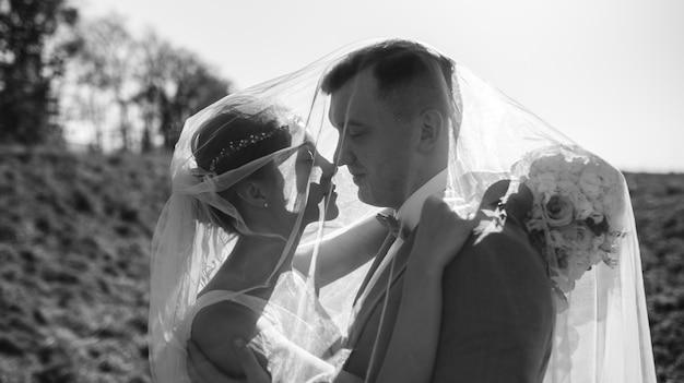 若い美しい花嫁は写真の下で避難所を利用します。明るいバックライトがフレームで光ります