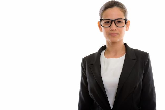 眼鏡をかけている若い美しい女性実業家