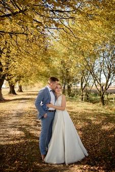 가 공원에 그들의 웨딩 드레스에 포옹하는 젊은 아름 다운 부부.