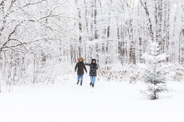 A young and beautiful couple is having fun in the snowy park running and holding hands valentines