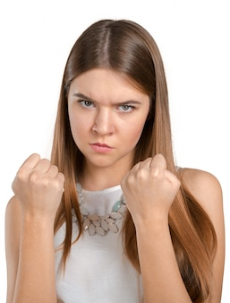 Young beautiful frustrated angry woman