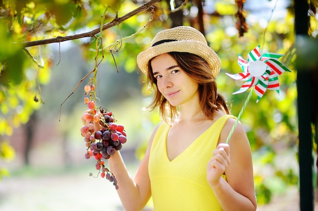 Young beautiful girl picking mellow grape in sunny day in italy. happy female farmer working in fruit orchard