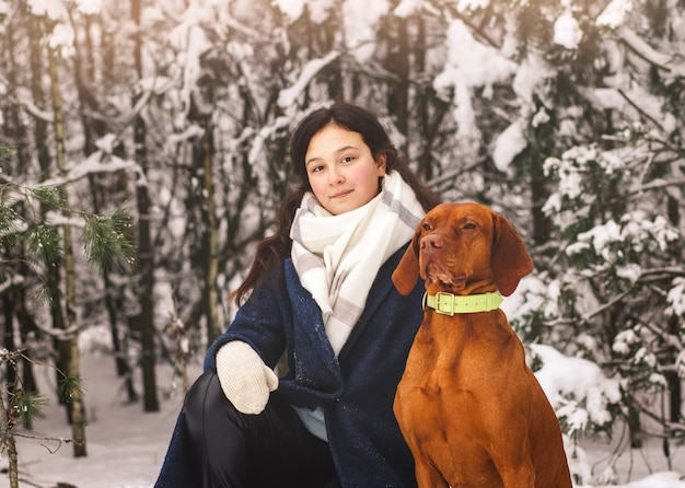 自然の中で冬の赤い犬と若い美しい少女