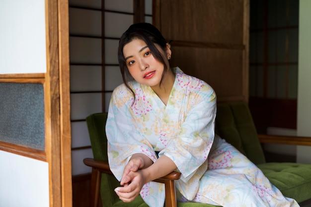 Young beautiful japanese woman wearing a kimono