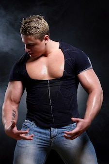 Young and beautiful muscle man
