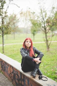 若い、美しい、赤毛、ベネズエラ、女性、ライフスタイル、音楽