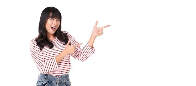 Young beautiful smiling asian girl hand