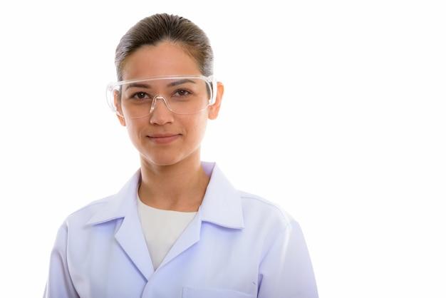 Молодая красивая женщина врач носить защитные