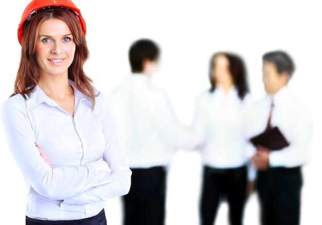 若くてきれいな女性エンジニア。産業労働者。