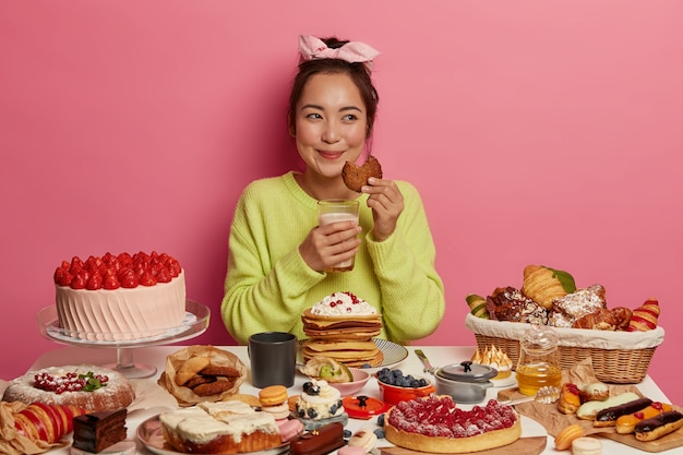 Young beautiful woman enjoying a wholesome dinner