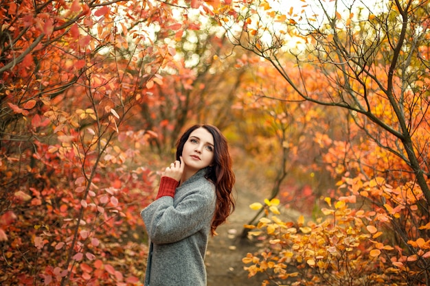 Young beautiful woman in grey coat sweather walking in autumn park with yellow and red leaves