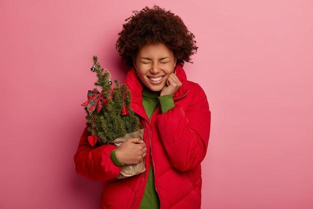 クリスマスの装飾を保持している若い美しい女性