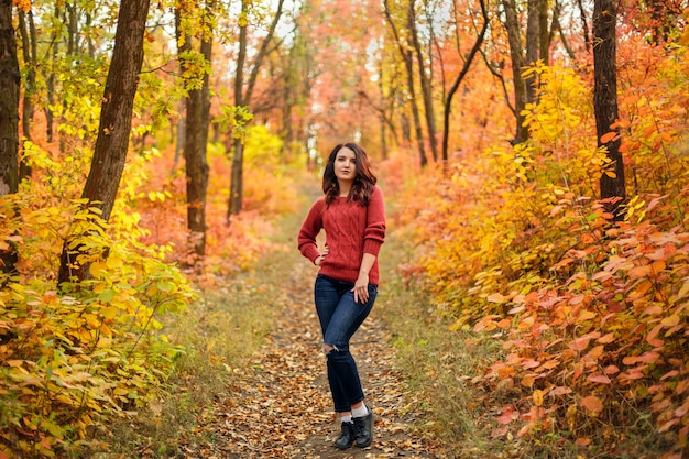 Young beautiful woman in red knitted sweather walking in autumn park with yellow and red leaves
