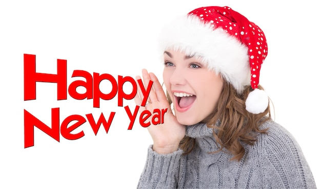 Young beautiful woman in santa hat shouting happy new year isolated on white  background