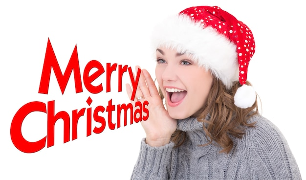 Young beautiful woman in santa hat shouting merry christmas isolated on white background
