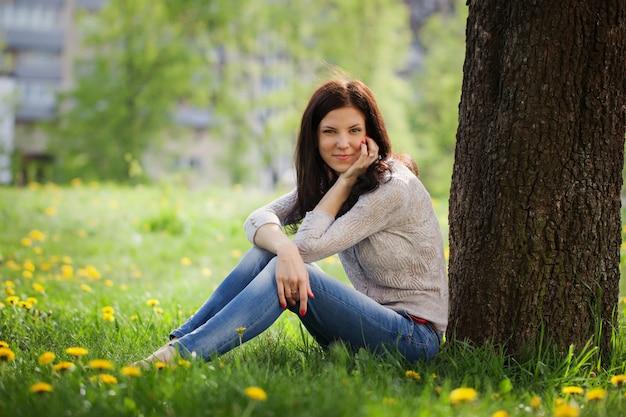 Young beautiful woman , summer nature.