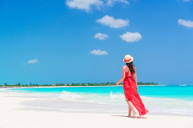 Young beautiful woman on tropical seashore. back view of young girl in red dress