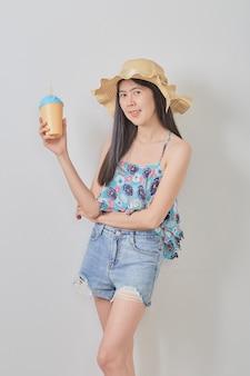 Young beautiful woman wearing hat