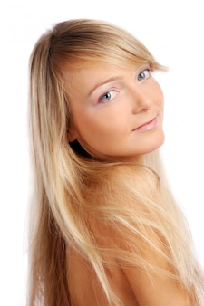 Young and beautiful woman on white