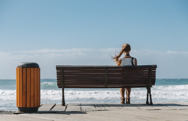 Young beautiful woman, with hair blowing in the wind, sitting on wooden bench at a beach looking to the blue ocean. back view.
