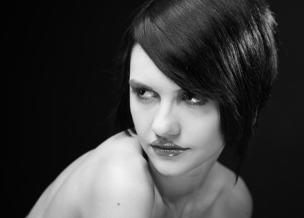 Young beautiful woman with short dark hair