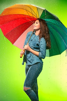 Young beautiful woman with an umbrella.