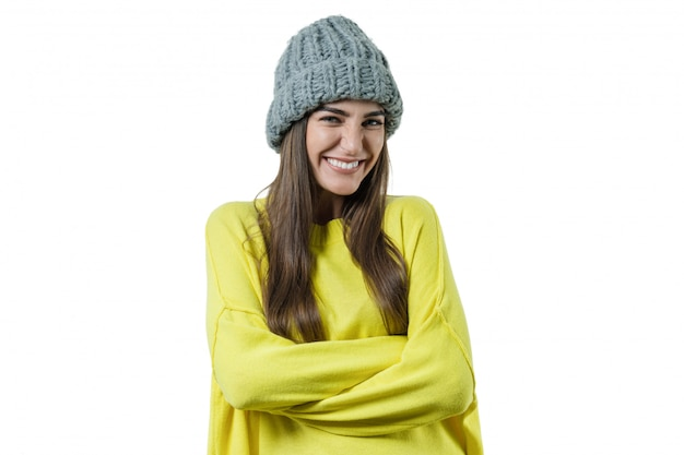Young beautiful woman in yellow sweater